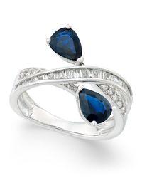 Macy's - Multicolor Sapphire (1-3/4 Ct. T.w.) And Diamond (3/8 Ct. T.w.) Crisscross Teardrop Ring In 14k White Gold - Lyst