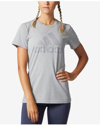 Adidas Originals | Gray Metallic Logo T-shirt | Lyst