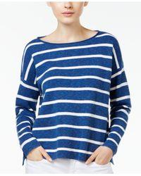 Eileen Fisher | Blue Organic-linen-blend Boxy Top | Lyst