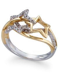 Macy's | Metallic Diamond Star Ring (1/3 Ct. T.w.) In 14k Gold And White Gold | Lyst