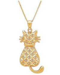 Macy's | Metallic Textured Backwards Kitty Cat Pendant Necklace In 14k Gold | Lyst