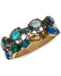 Carolee - Blue Gold-tone Multi-stone Hinged Bangle Bracelet - Lyst