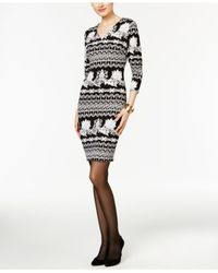 Eci | Black Scroll-print Sheath Dress | Lyst