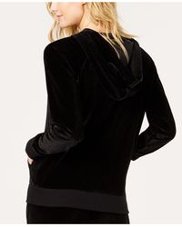 Michael Kors - Black Michael Velvet Zip-front Hoodie, In Regular And Petite Sizes - Lyst