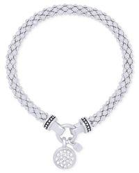 Nine West - Metallic Pavé Charm Weave-style Stretch Bracelet - Lyst