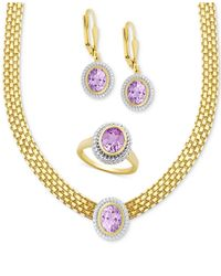 Macy's | Metallic Amethyst Collar Necklace, Drop Earrings And Ring Set (7-1/5 Ct. T.w.) In 18k Gold-plated Sterling Silver | Lyst
