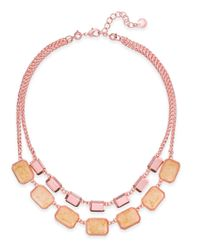 Charter Club | Rose Gold-tone Orange/pink Stone 2 In 1 Necklace | Lyst