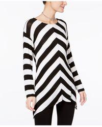 INC International Concepts | Black Chevron Tunic Sweater | Lyst