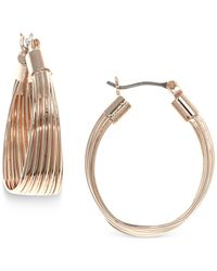 Nine West | Metallic Rose Gold-tone Wide Hoop Earrings | Lyst