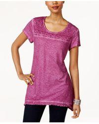 Style & Co.   Purple Fringe-hem Lace-yoke Top   Lyst