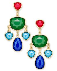 Charter Club | Green Gold-tone Colored Stone Chandelier Earrings | Lyst