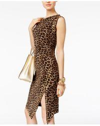 Michael Kors | Brown Animal-print Sheath Dress | Lyst