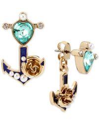 Betsey Johnson | Metallic Gold-tone Multi-stone Imitation Pearl Anchor Ear Jacket Earrings | Lyst