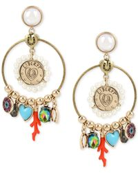 Betsey Johnson | Metallic Gold-tone Multi-charm Drop Earrings | Lyst
