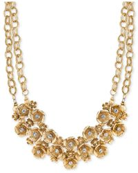 2028 | Metallic Gold-tone Rosette Cluster Collar Necklace | Lyst