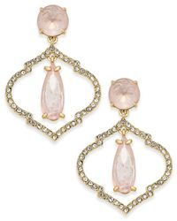 kate spade new york | Metallic Gold-tone Crystal And Pink Stone Drop Earrings | Lyst