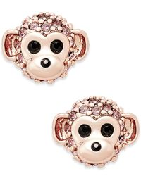 kate spade new york | Metallic Rose Gold-tone Crystal Monkey Stud Earrings | Lyst