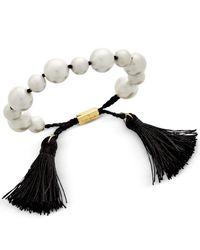 kate spade new york   Black Gold-tone Beaded Tassel Slider Bracelet   Lyst