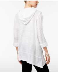 Style & Co. - White Sheer Jacquard Hoodie - Lyst