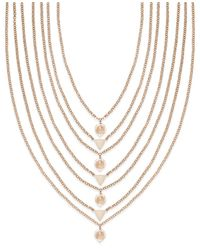 INC International Concepts | Metallic Rose Gold-tone Pink Stone Multi-row Necklace | Lyst