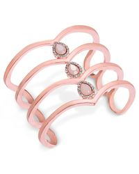 INC International Concepts | Rose Gold-tone Pavé Pink Stone Cuff Bracelet | Lyst