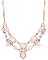 INC International Concepts | Rose Gold-tone Pavé And Pink Stone Necklace | Lyst