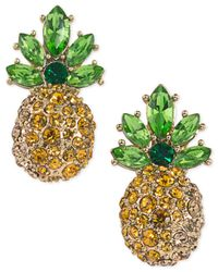 ABS By Allen Schwartz | Metallic Gold-tone Pavé Pineapple Stud Earrings | Lyst