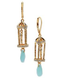 Lonna & Lilly | Metallic Gold-tone Birdcage And Stone Drop Earrings | Lyst