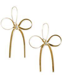 Betsey Johnson - Metallic Gold-tone Bow Earrings - Lyst
