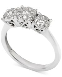 Macy's   Metallic Diamond Cluster Trio Engagement Ring (1 Ct. T.w.) In 14k White Gold   Lyst
