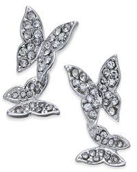 INC International Concepts | Metallic Silver-tone Pavé Double Butterfly Ear Climber Earrings | Lyst