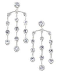 INC International Concepts | Metallic Silver-tone Multi-crystal Chandelier Earrings | Lyst