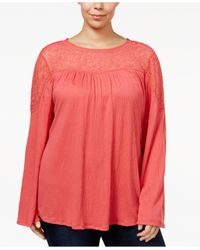 Style & Co. | Pink Plus Size Mesh Yoke Bell-sleeve Top | Lyst