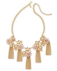 INC International Concepts - Metallic Gold-tone Imitation Pearl Multi-stone Tassel Necklace - Lyst