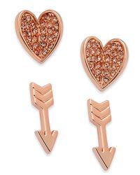 Vera Bradley | Multicolor 2-pc. Set Pavé Heart And Arrow Stud Earrings | Lyst