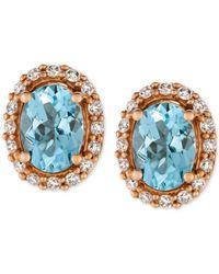 Le Vian - Sea Blue Aquamarine® (1-1/6 Ct. T.w.) And Diamond (1/4 Ct. T.w.) Stud Earrings In 14k Rose Gold - Lyst