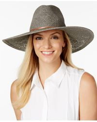 Vince Camuto | Gray Eyelet Woven Panama Hat | Lyst