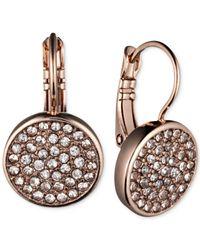 Anne Klein - Metallic Crystal Pavé Disc Drop Earrings - Lyst