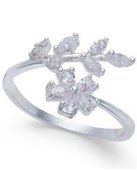 INC International Concepts | Metallic Silver-tone Crystal Flower & Leaf Ring | Lyst