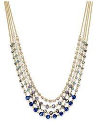 INC International Concepts | Blue Gold-tone Multi-bead Multi-row Necklace | Lyst