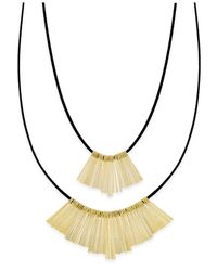 INC International Concepts | Black Gold-tone Imitation Suede Double Row Necklace | Lyst