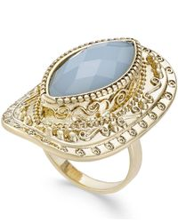 INC International Concepts | Metallic Gold-tone Blue Stone Openwork Statement Ring | Lyst