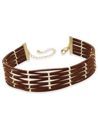 INC International Concepts - Brown Gold-tone Faux-suede Beaded Choker Necklace - Lyst