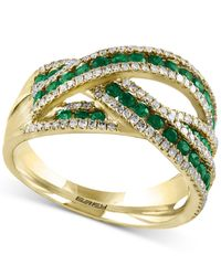 Effy Collection - Metallic Emerald (7/8 Ct. T.w.) And Diamond (1/2 Ct. T.w.) Interwoven Ring In 14k Gold - Lyst
