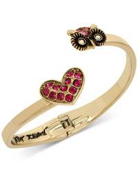 Betsey Johnson | Metallic Gold-tone Pink Pavé Heart And Owl Hinged Open Bangle Bracelet | Lyst