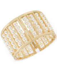 INC International Concepts   Metallic Gold-tone Imitation Pearl Wide Hinged Bangle Bracelet   Lyst