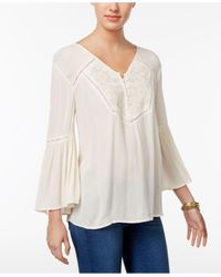 Style & Co. | White Embroidered Bell-sleeve Top | Lyst