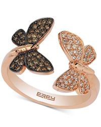 Effy Collection | Metallic Diamond Butterfly Ring (1/3 Ct. T.w.) In 14k Rose Gold | Lyst