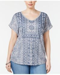 Style & Co. | Blue Plus Size Printed Peasant Top | Lyst