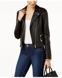Michael Kors   Black Leather Moto Jacket   Lyst